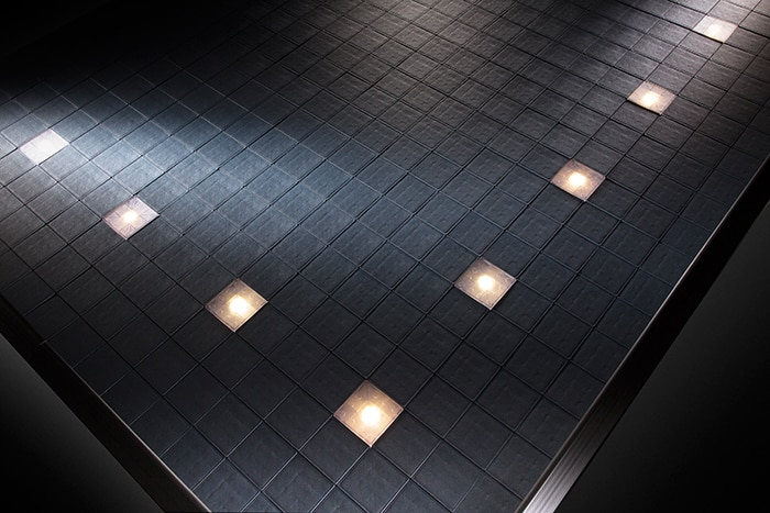 Cableflor grey mix exhibition flooring with LED's