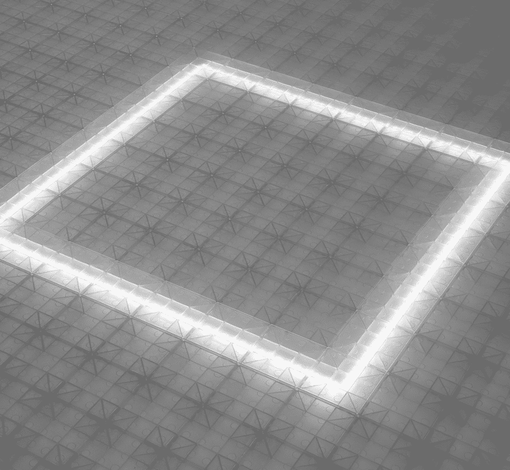 LED lighting in square under frosted tiles.
